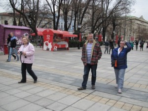 Julie, Tony and Jane in Liberty Square, Ruse